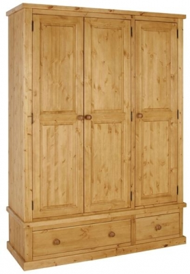 Devonshire Chunky Pine Wardrobe - 3 Door 2 Drawer