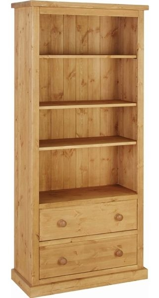 Devonshire Chunky Pine 2 Drawer Large Bookcase