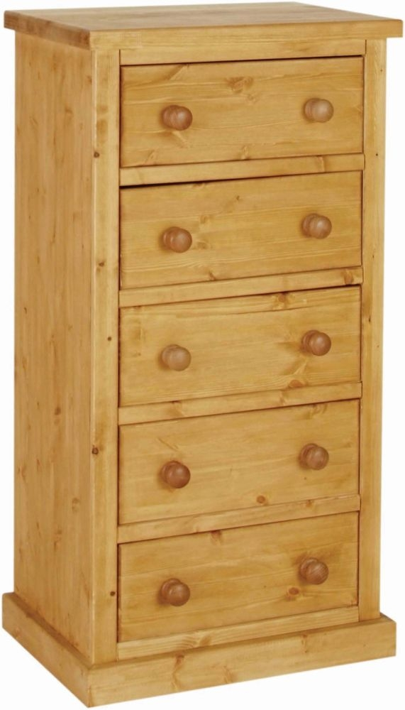 Devonshire Chunky Pine Kenilworth Lacquered 5 Drawer Wellington Chest