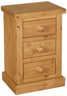 Devonshire Chunky Pine Compact Bedside Cabinet - 3 Drawer