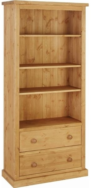 Devonshire Chunky Pine Bookcase - 6ft Tall 2 Drawer