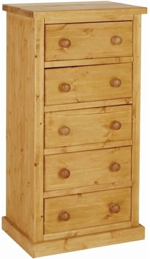 Devonshire Chunky Pine 5 Drawer Small Wellington Chest