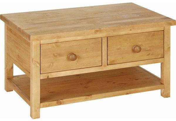 Capri pine 2 drawer coffee table Pine coffee table with drawers