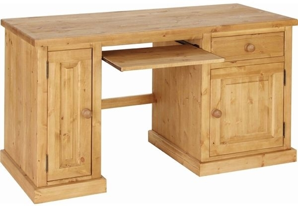 Devonshire Chunky Pine Computer Desk - 2 Door 1 Drawer