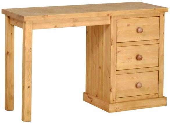 Devonshire Chunky Pine Dressing Table - Single Pedestal 4 Drawer