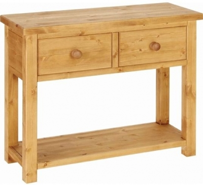Clearance Devonshire Chunky Pine Console Table - 2 Drawer - G595
