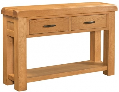Devonshire Clovelly Oak Console Table - 2 Drawer
