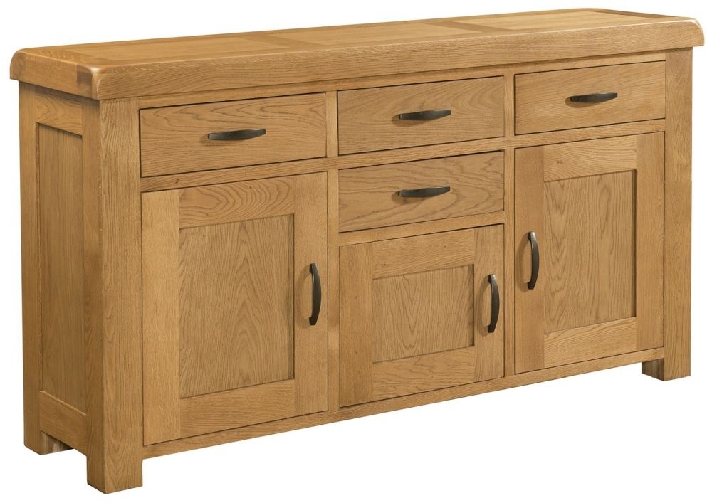 Devonshire Clovelly Oak 3 Door 4 Drawer Wide Sideboard