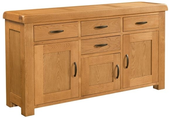 Devonshire Clovelly Oak Sideboard - 4 Drawer 3 Door