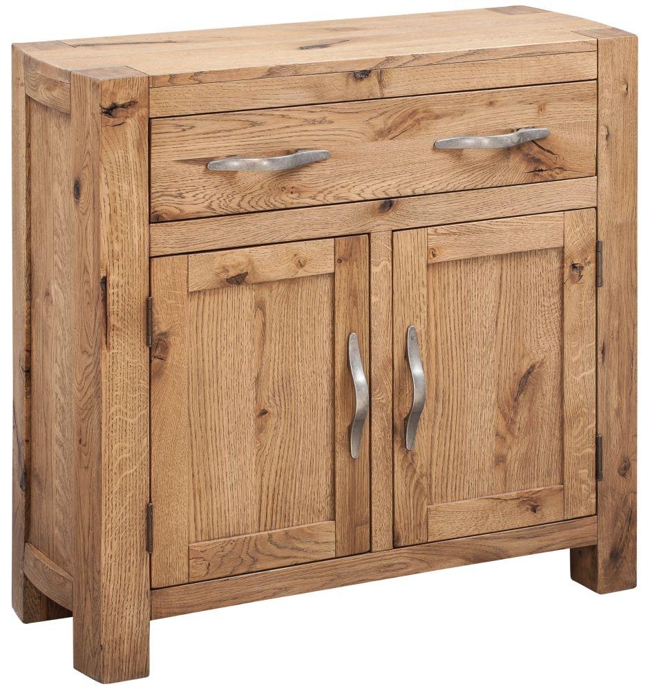 Devonshire Como Oak 2 Door 1 Drawer Narrow Compact Sideboard