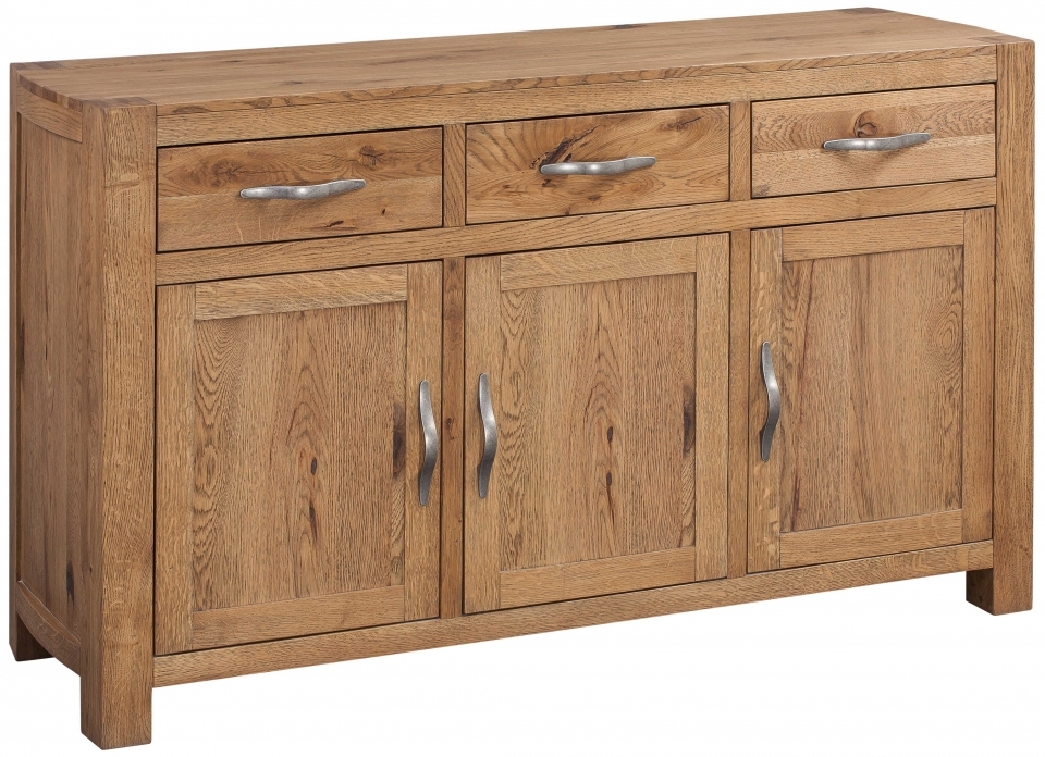 Devonshire Como Oak Sideboard - Large Wide 3 Door 3 Drawer
