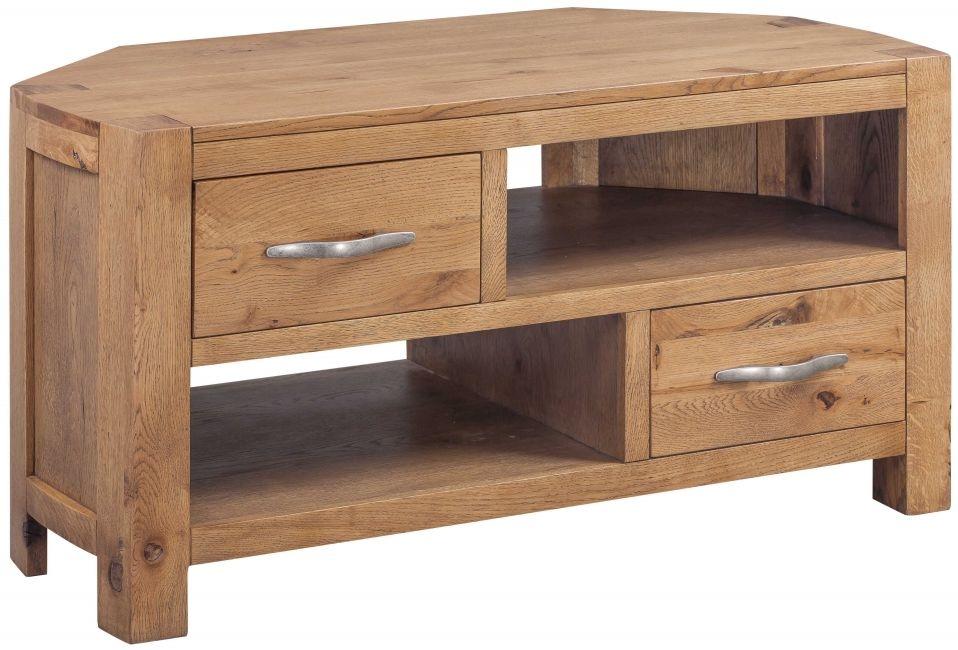 Devonshire Como Oak TV Unit - Corner 2 Drawer