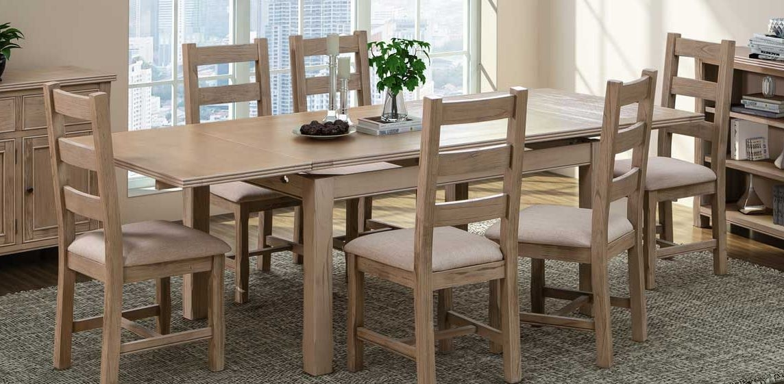 Devonshire Coniston Light Grey Large End Extending Dining Table with 6 Chairs
