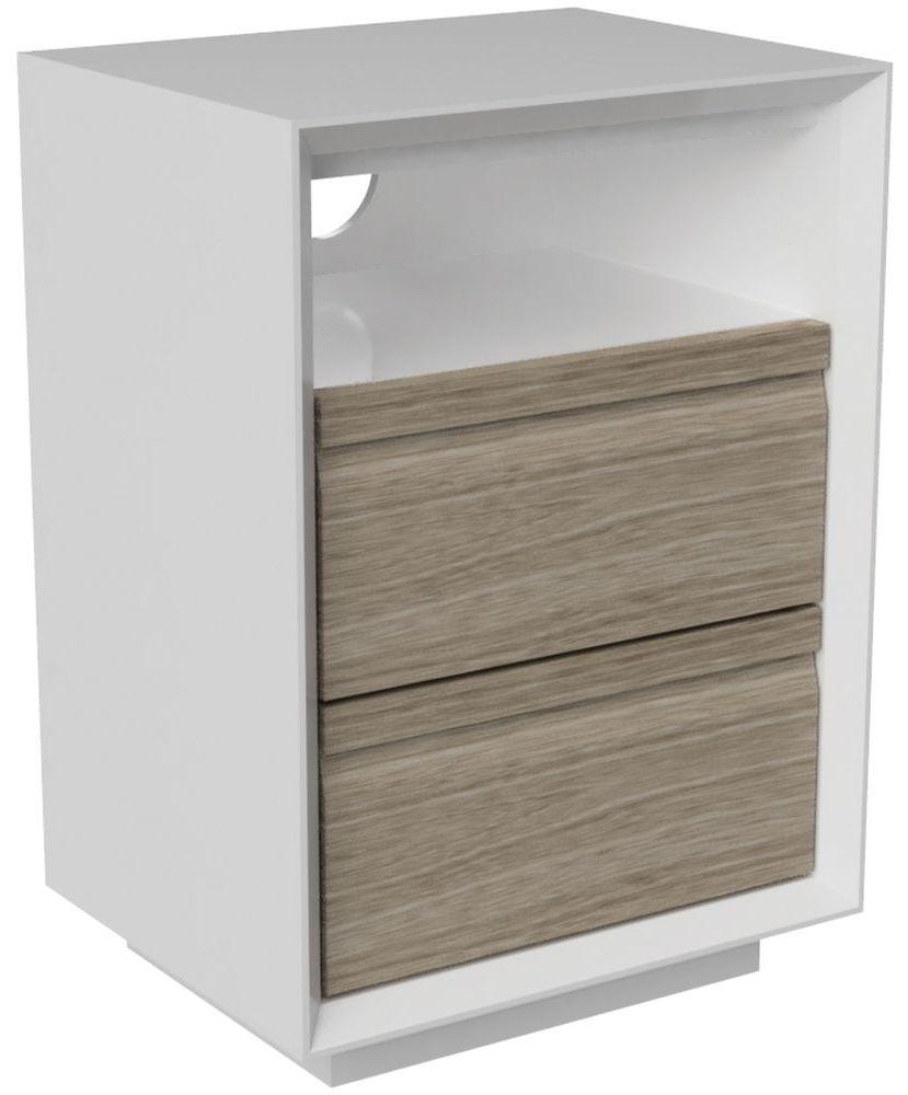 Corton Light Grey Painted 2 Drawer Bedside Cabinet