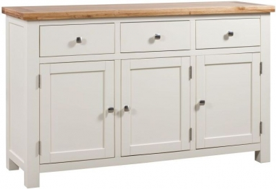 Dorset Ivory Painted 3 Door Large Sideboard