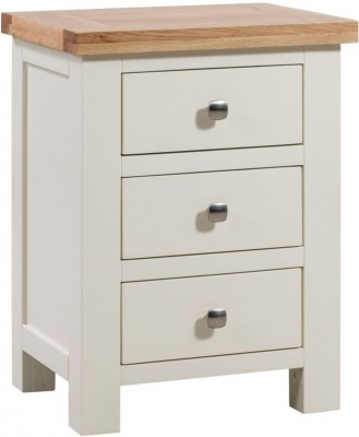 Dorset Ivory 3 Drawer Painted Bedside Cabinet
