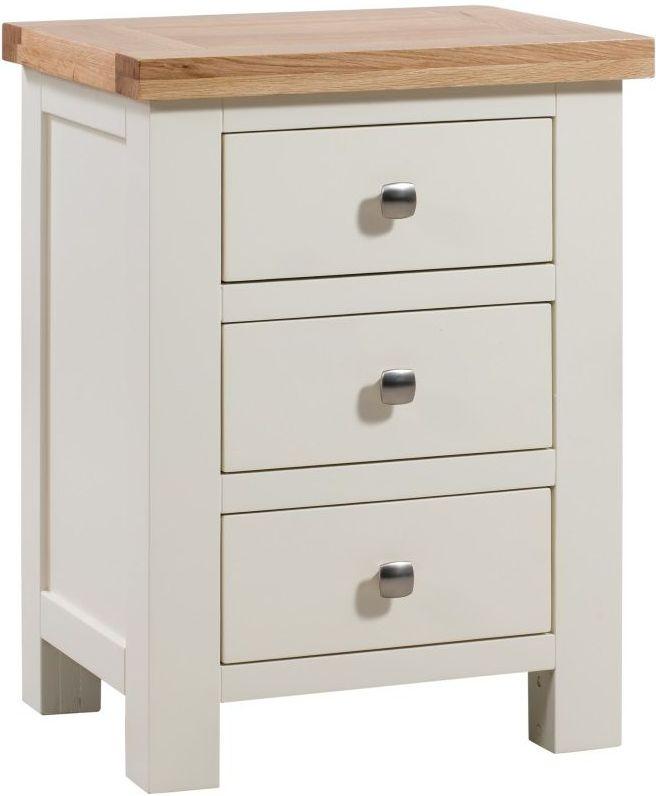 Dorset Ivory 3 Drawer Painted Bedside Cabinet