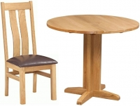 Devonshire Dorset Oak Round Drop Leaf Dining Set with 2 Arizona Chairs - 30cm-90cm
