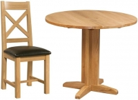 Devonshire Dorset Oak Round Drop Leaf Dining Set with 2 Cross Back Chairs - 30cm-90cm