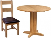 Devonshire Dorset Oak Round Drop Leaf Dining Set with 2 Ladder Back Chairs - 30cm-90cm