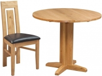 Devonshire Dorset Oak Round Drop Leaf Dining Set with 2 Verona Chairs - 30cm-90cm