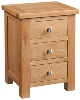 Devonshire Dorset Oak Bedside Cabinet - 3 Drawer