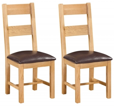 Devonshire Dorset Oak Dining Chair - Ladder Back (Pair)