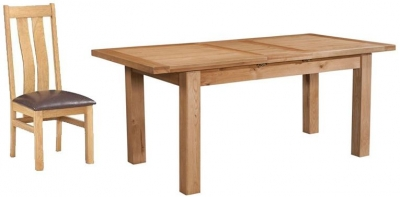 Devonshire Dorset Oak Dining Set - 120cm Table with 4 Arizona Chairs