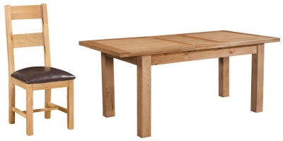 Devonshire Dorset Oak Dining Set - 120cm Table with 4 Ladder Back Chairs