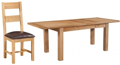 Devonshire Dorset Oak Dining Set - 132cm Table with 4 Ladder Back Chairs