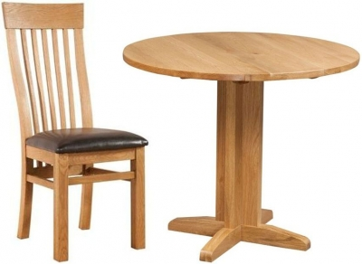 Devonshire Dorset Oak Round Drop Leaf Dining Set with 2 Toulouse Back Chairs - 30cm-90cm