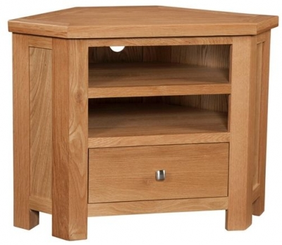 Devonshire Dorset Oak TV Unit - Corner 1 Drawer