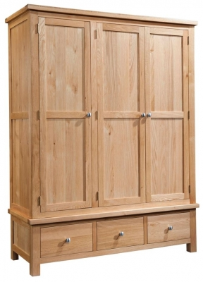 Devonshire Dorset Oak Wardrobe - 3 Door 3 Drawer