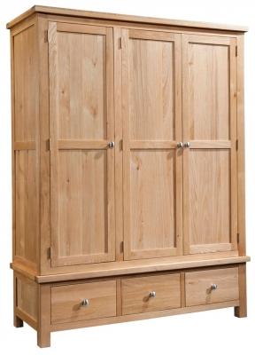 Devonshire Dorset Oak Wardrobe - 3 Door 3 Drawer