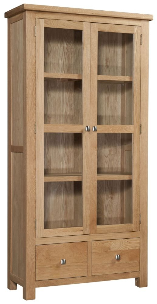 Devonshire Dorset Oak 2 Door 2 Drawer Display Cabinet