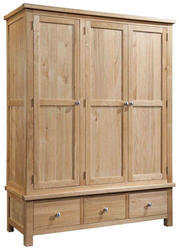 Devonshire Dorset Oak 3 Door 3 Drawer Wardrobe