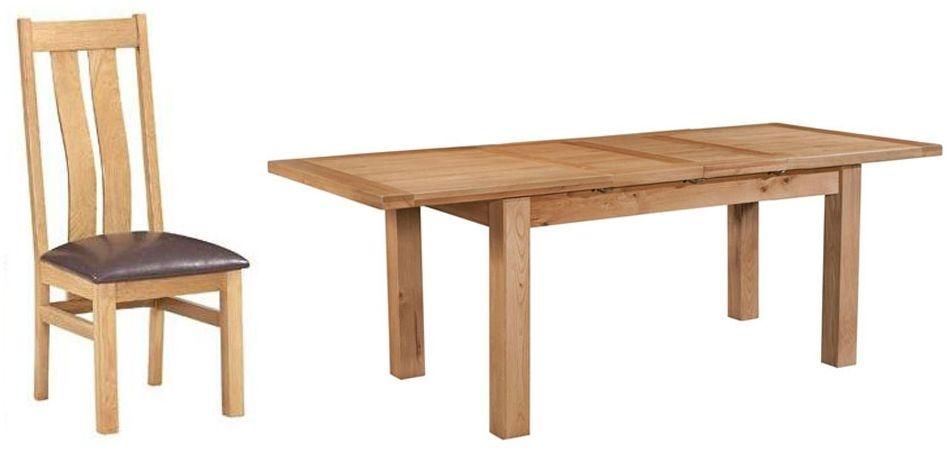 Devonshire Dorset Oak Dining Set - 132cm Table with 4 Arizona Chairs