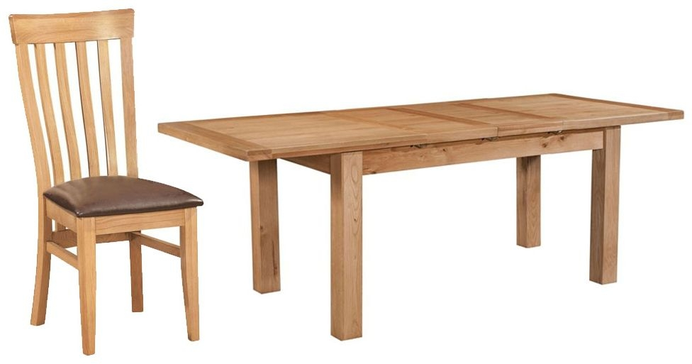 Devonshire Dorset Oak Dining Set - 132cm Table with 4 Toulouse Chairs