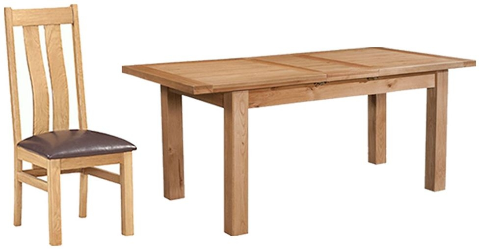Devonshire Dorset Oak Rectangular 1 Leaf Extending Dining Set with 4 Arizona Chairs - 120cm-153cm