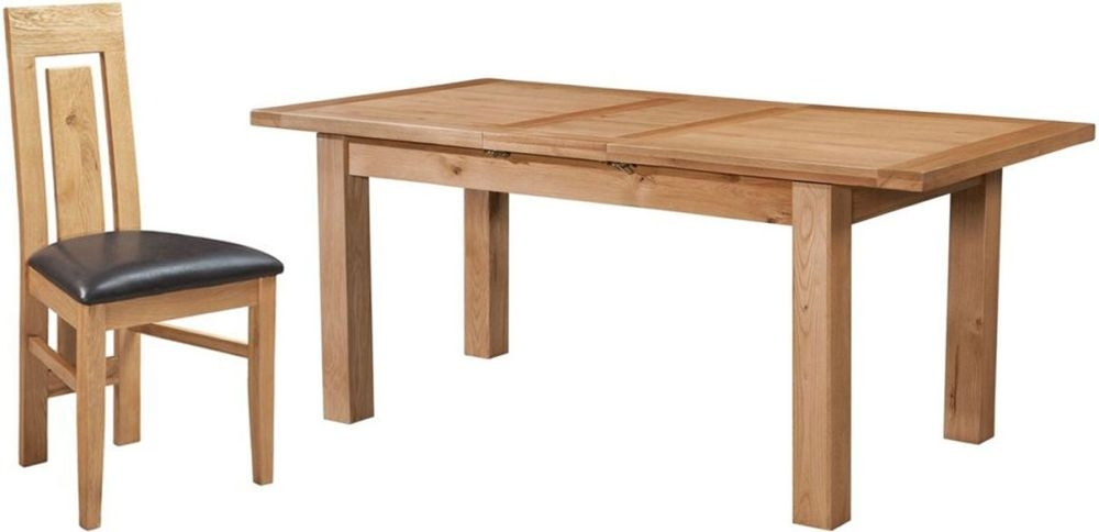 Devonshire Dorset Oak Rectangular 1 Leaf Extending Dining Set with 4 Verona Chairs - 120cm-153cm