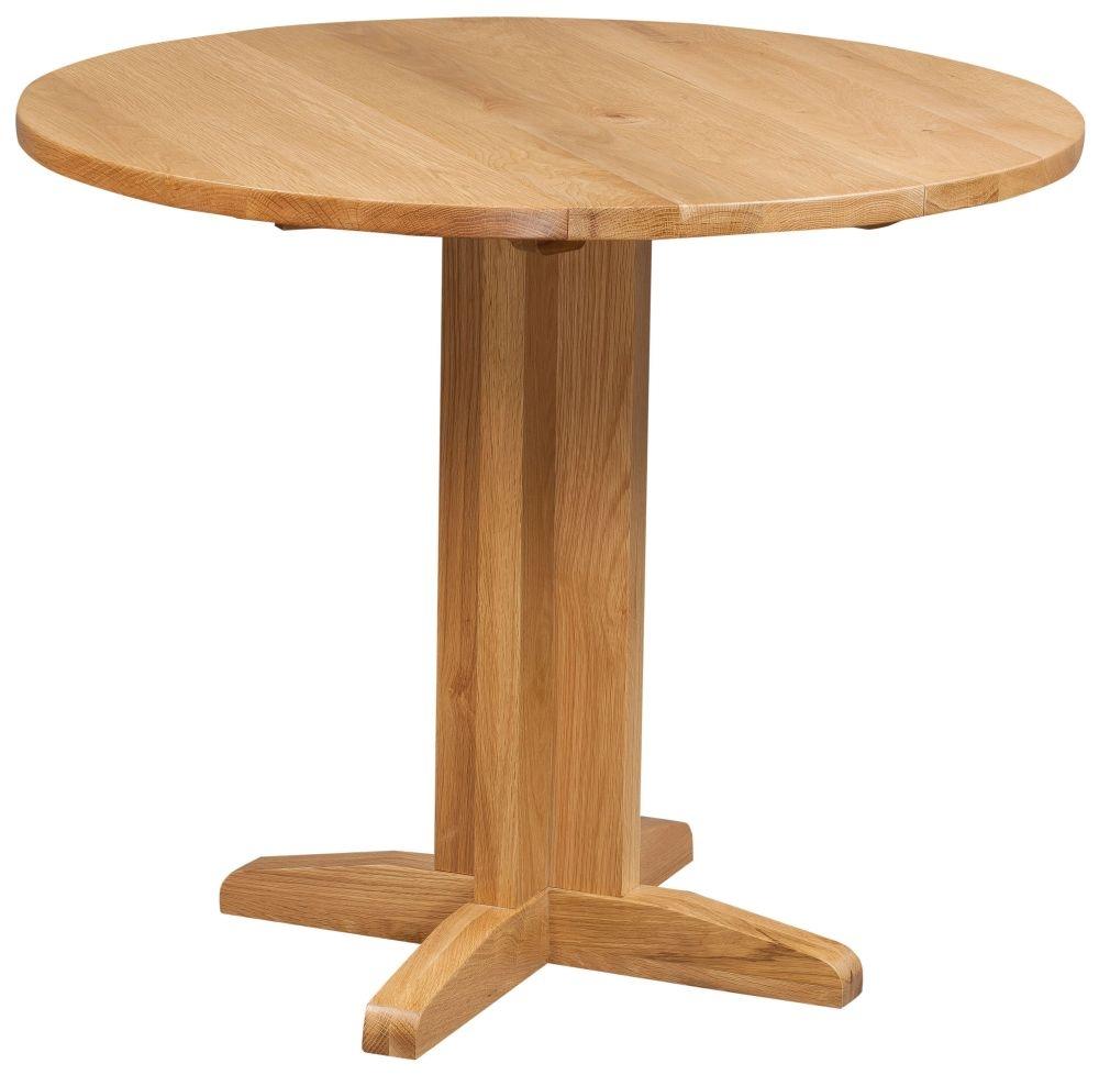 Devonshire Dorset Oak Round Drop Leaf Dining Set with 2 Arizona Chairs - 30cm-90cm