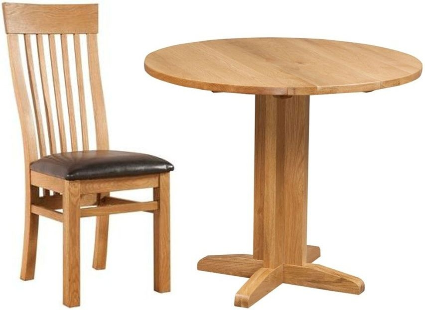 Devonshire Dorset Oak Round Drop Leaf Dining Set with 2 Toulouse Back Chairs - 30cm-90cm