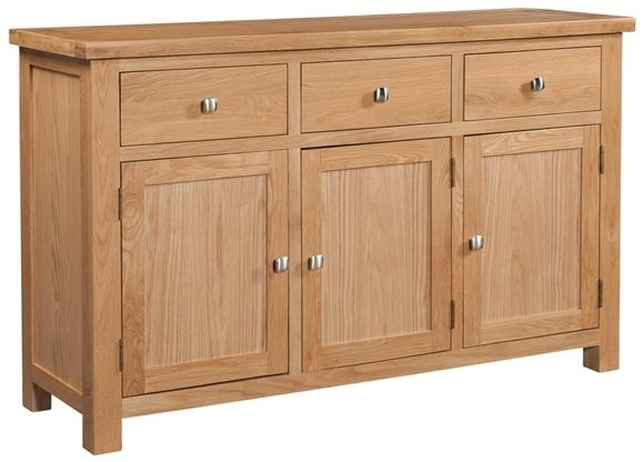 Devonshire Dorset Oak 3 Door 3 Drawer Wide Sideboard