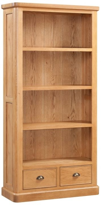 Devonshire Evesham Oak Bookcase - 2 Drawer Tall
