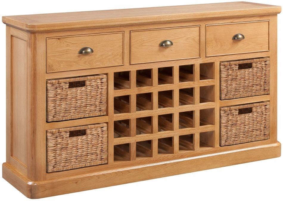 Devonshire Evesham Oak Sideboard with Wine Rack - Open