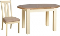 Devonshire Lundy Painted Small Oval D-End Extending Dining Set with 4 Slatted Back Chair - 132cm-165cm