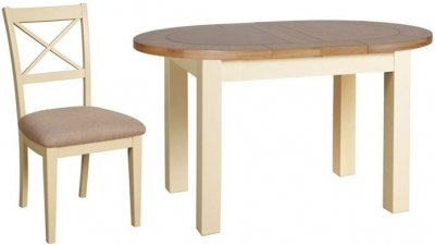 Devonshire Lundy Painted Small Oval D-End Extending Dining Set with 4 Cross Back Chair - 132cm-165cm