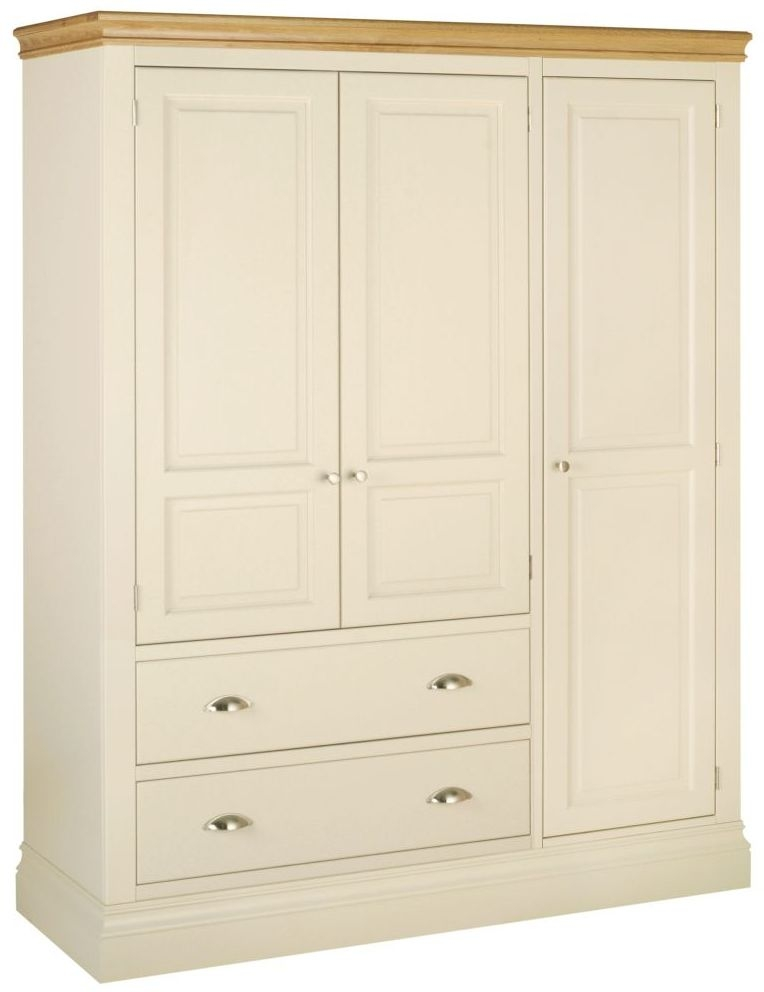 Devonshire Lundy Ivory Painted 3 Door 2 Drawer Wardrobe
