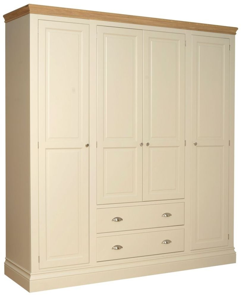 Devonshire Lundy Ivory Painted 4 Door 2 Drawer Wardrobe