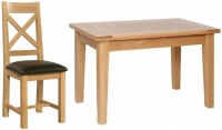 Devonshire New Oak Rectangular Dining Set with 4 Cross Back Chairs - 120cm